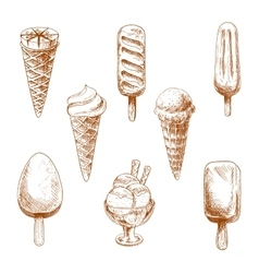 Ice cream desserts engraving sketches vector image