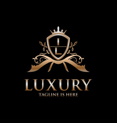 il letter initial with royal luxury logo template vector image