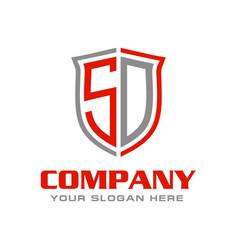 Initial letter sd shield logo design vector