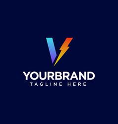 Initial letter v logo with thunderbolt lighting vector