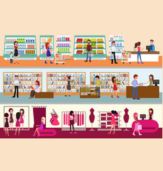 Interior shopping center people shopping vector