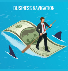 isometric business navigation concept businessman vector image