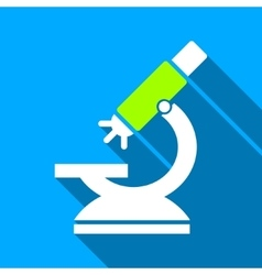 Labs Microscope Flat Long Shadow Square Icon vector