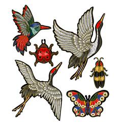 ladybug butterfly beetle crane vector image