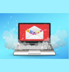 laptop computer broken virus from email vector image