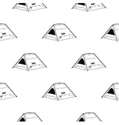 Line art tent seamless pattern silhouette vector