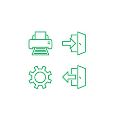 Login logout print and settings icon isolated vector