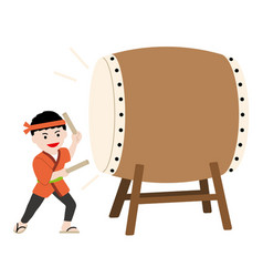 man performing a japanese traditional drum vector image
