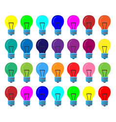 many lamps of the same size in different colors vector image