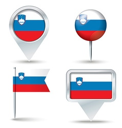 Map pins with flag of slovenia vector