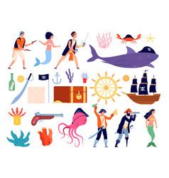 marine adventures sailor team funny sea boat vector image