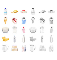 Milk product cartoonmono icons in set collection vector