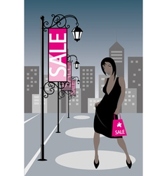 Night Shopping Girl vector
