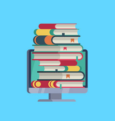 online library flat computer with stack books vector image