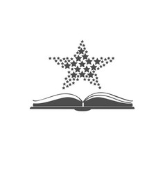 open book icon with stars over it vector image