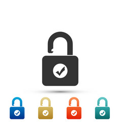 open padlock and check mark icon isolated vector image