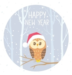 owl winter color vector image
