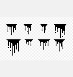 Paint dripping icon current drops black paint vector
