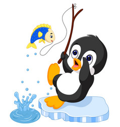 Penguin fishing vector