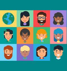 People avatars set diverse men and women faces vector