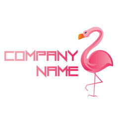 pink crane and blank space for text logo on a vector image