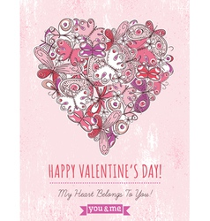 Pink grunge background with valentine heart vector