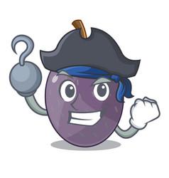 Pirate velvet tamarind fruit on plate cartoon vector