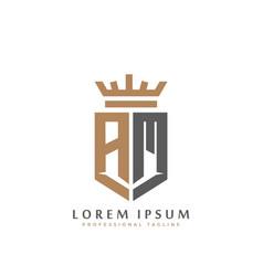 premium am monogram two letters am elegant vector image
