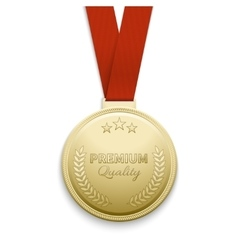 Premium quality gold medal vector image