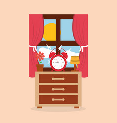 Round clock alarm in the bedside table lamp flower vector