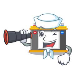 Sailor with binocular accomulator cartoon sticks vector