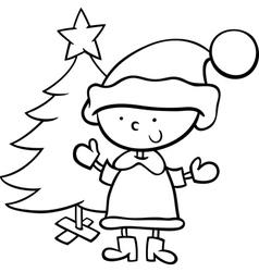 Santa claus boy cartoon coloring page vector