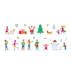 santa claus snowman and people characters vector image
