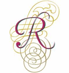 script letter r vector image