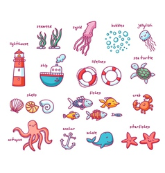 Sea doodles set vector