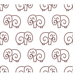 seamless pattern of simple elephant one line art vector image