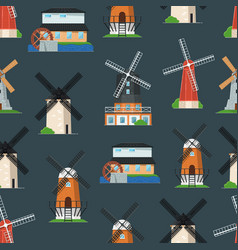Seamless pattern with traditional old windmill vector