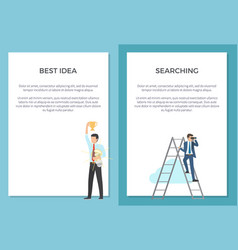 searching for best idea set of posters with text vector image