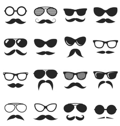 Set of black hipster mustache and glasses vector