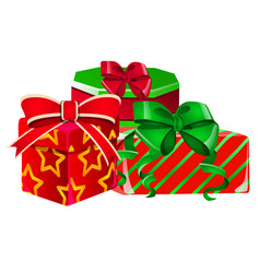 set of gift boxes with a green and red ribbon with vector image