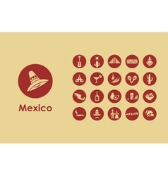Set of Mexico simple icons vector image