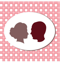 silhouettes of lovers pink fon girl and boy vector image