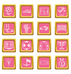 Soccer football icons set pink square vector