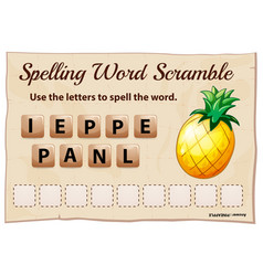 Spelling word scrable game with word pineapple vector