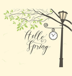 Spring landscape with trees in the park and clock vector