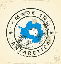 Stamp with map flag antarctica vector