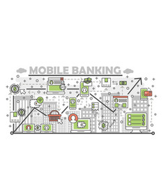 thin line art mobile banking poster banner vector image