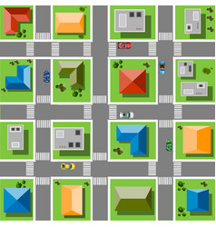 Top view city with streets roads houses and vector