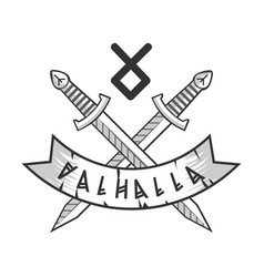 Valhalla isolated logotype with crossed monochrome vector