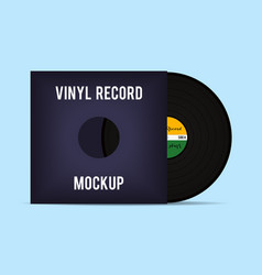 Vinyl template Vinyl Record with Cover Mockup vector image